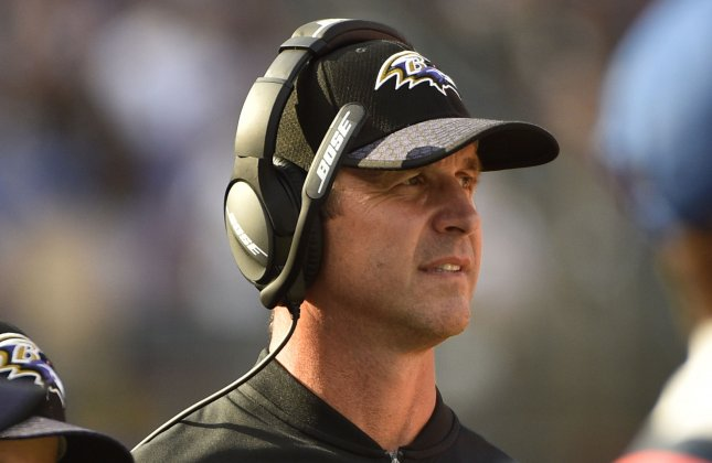 Baltimore Ravens coach John Harbaugh looks on from the sidelines during a game against the Chicago Bears in October. Photo by David Tulis/UPI