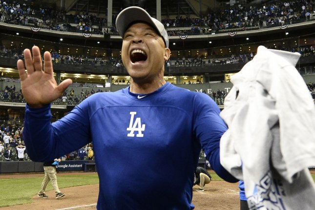 Los Angeles Dodgers manager Dave Roberts reacts after beating the Milwaukee Brewers in Game 7 of the 2018 National League Championship Series on October 20 at Miller Park in Milwaukee. Photo by Brian Kerseyi/UPI
