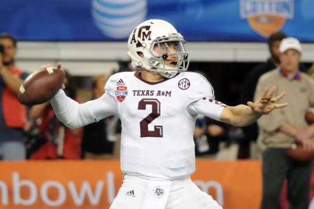 Former Texas A&M quarterback Johnny Manziel, shown Jan. 4, 2013, won the Heisman Memorial Trophy while playing for the Aggies in 2012. File Photo by Ian Halperin/UPI