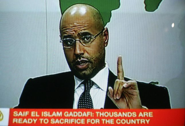 An image grab taken from footage broadcast on Libyan state television on February 20, 2011 shows a televised address by former Libyan leader Moammer Gadhafi's son Saif al-Islam in Tripoli, Libya. UPI/Ismael Mohamad