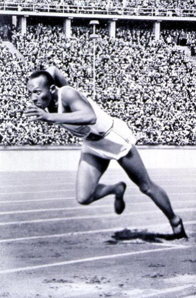 SLP2000090905- 09 SEPTEMBER 2000- ST. LOUIS, MISSOURI, USA: Amerian Olympic athlete, Jesse Owens, runs his historic, record breaking 200 meter race at the 1936 Olympic Games in Berlin. This photo and other items are part of an upcoming exhibition at the Missouri History Museum called The Nazi Olympics Belin 1936. The exhibition which begins 9/14, will provide an in-depth examination of the controversies, achievements, and consequences related to America's participation in the 1936 Summer Olympics held in Germany. bg/HO