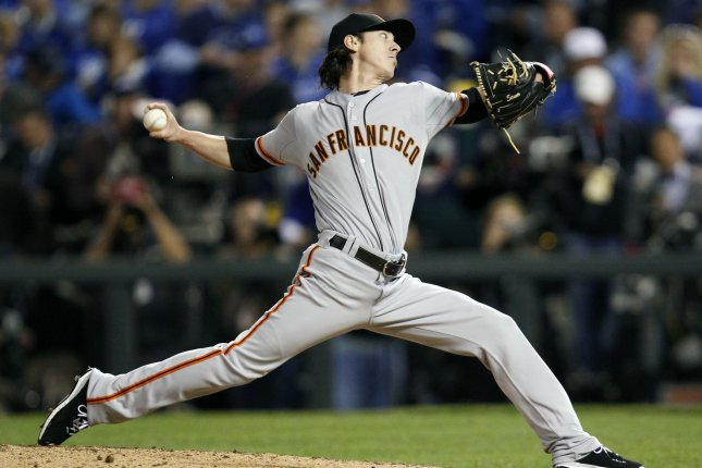 San Francisco Giants pitcher Tim Lincecum. UPI/Jeff Moffett
