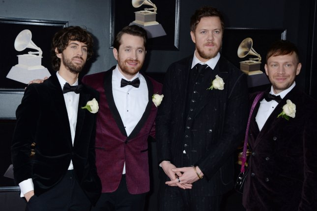 Dan Reynolds (second from right), pictured with Ben McKee, Daniel Platzman and Wayne Sermon (left to right) of Imagine Dragons, spoke out following criticism from Slipknot singer Corey Taylor and others in the music industry. File Photo by Dennis Van Tine/UPI