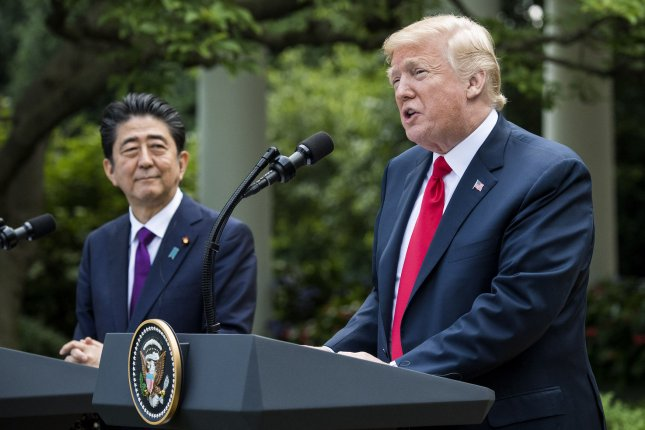Japanese Prime Minister Shinzo Abe is expected to meet with U.S. President Donald Trump on Friday. File Photo by Kevin Dietsch/UPI