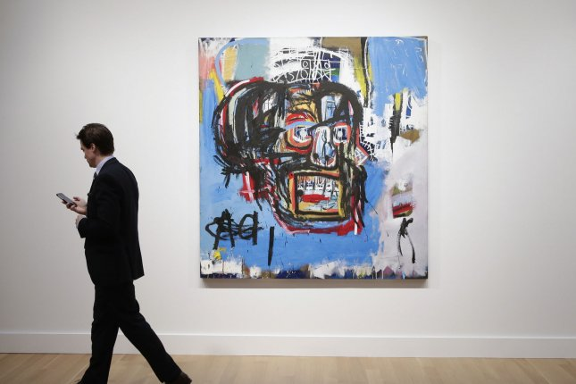 A man who attempted to sell forged paintings by Jean-Michel Basquiat, similar to the one pictured, was sentenced to five years in prison. File Photo by John Angelillo/UPI