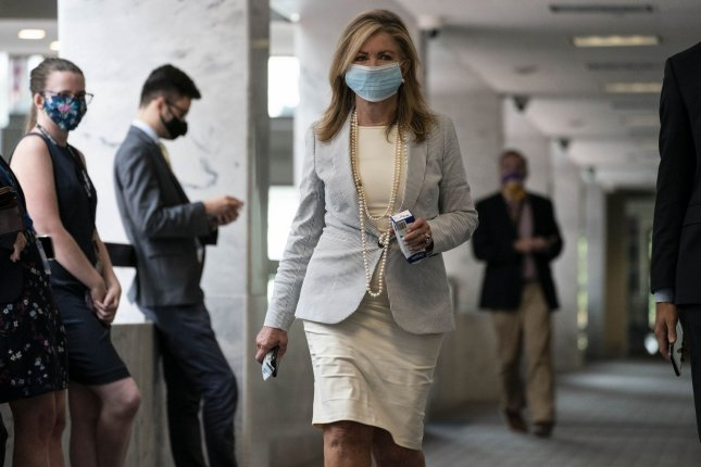 Sen. Marsha Blackburn, R-Tenn., arrives on Capitol Hill in Washington, D.C., on August 4 amid negotiations between Democratic leaders and White House Republicans concerning the next stimulus package. Photo by Sarah Silbiger/UPI