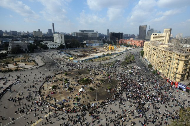 Egyptian demonstrators protest in Cairo's main square January 31, 2011. Protests began January 25 in what would come to be a revolution toppling President Hosni Mubarak. UPI File Photo