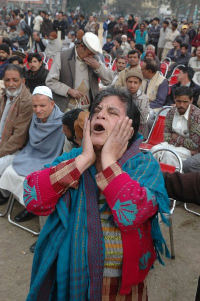 A supporter of slain Pakistani opposition leader Benazir Bhutto cries during a protest on the spot where she was killed in Rawalpindi, Pakistan on January 3, 2008. (UPI Photo/Suhail Kureishi).
