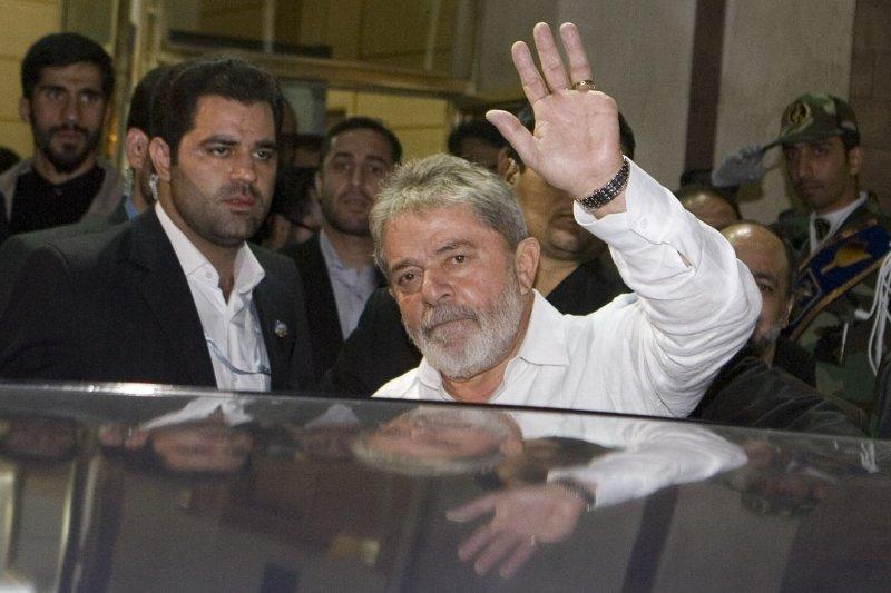 Brazilian President Luis Inacio Lula da Silva waves as he arrives at Mehrabad airport in Tehran, Iran on May 15, 2010. UPI/Maryam Rahmanian