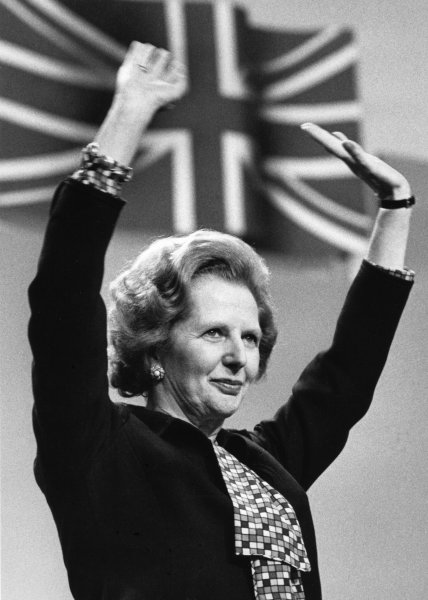 Prime Minister Margaret Thatcher after a speech at a Conservative Party conference in Brighton, England Oct. 12, 1984. (UPI Photo/Roy Letkey)