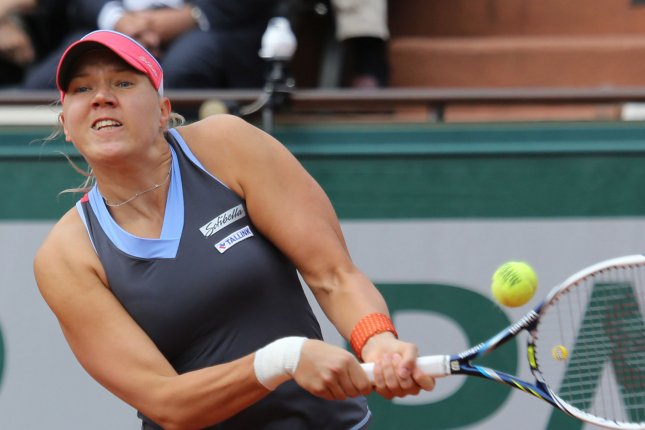 Kaia Kanepi of Estonia hits a shot during her French Open women's first round match against Maria Sharapova of Russia at Roland Garros in Paris on May 25, 2015. Sharapova defeated Kanepi 6-2, 6-4 to advance to the next round. Photo by David Silpa/UPI