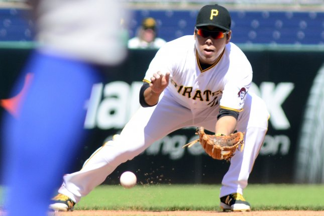 Pittsburgh Pirates third baseman Jung Ho Kang (27) fields a grounder from New York Mets Asdrubal Cabrera in the first inning against the New York Mets at PNC Park on June 7, 2016 in Pittsburgh. The Pittsburgh Pirates went on to win 3-1 in the first game of a double header. Photo by Archie Carpenter/UPI