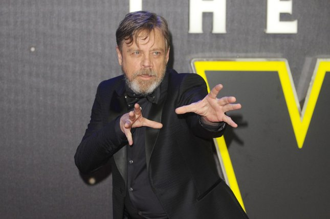 "Mark Hamill attends the European Premiere of ""Star Wars: The Force Awakens"" on December 16, 2015. Hamill shared on Twitter Tuesday a photo of himself posing with Harrison Ford. File Photo by Paul Treadway/ UPI"