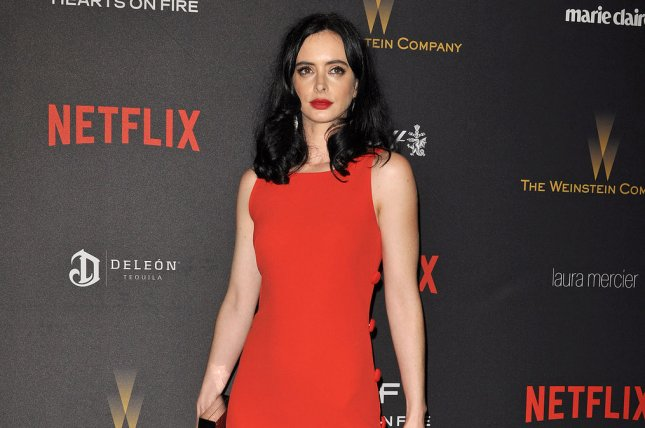 Krysten Ritter arrives at the Weinstein Company & Netflix 2016 Golden Globes after party on January 10, 2016. Ritter (Jessica Jones) stars alongside Charlie Cox (Daredevil), Mike Colter (Luke Cage) and Finn Jones (Iron Fist) in the first trailer for The Defenders. File Photo by Christine Chew/UPI