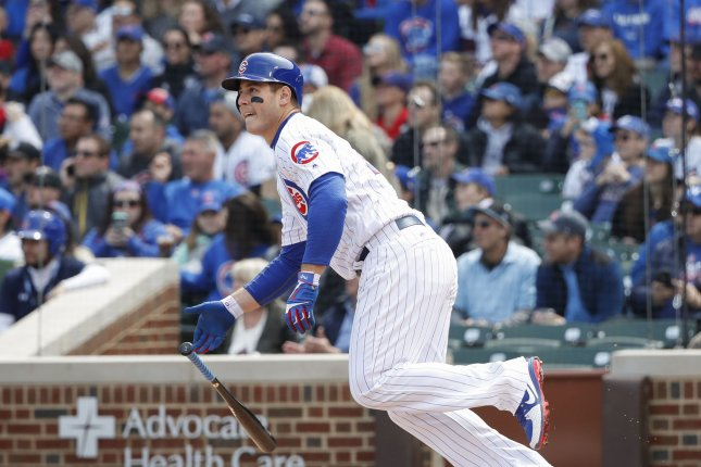 Chicago Cubs first baseman Anthony Rizzo watches the ball off the bat. File photo by Kamil Krzaczynski/UPI