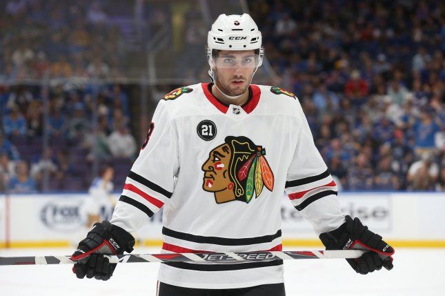 Former Chicago Blackhawks and current Arizona Coyotes forward Nick Schmaltz skates to the bench during a timeout against the St. Louis Blues in the first period on October 6 at the Enterprise Center in St. Louis. File photo by Bill Greenblatt/UPI