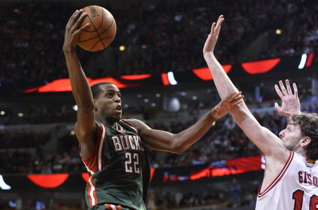 Milwaukee Bucks star Khris Middleton (L) announced he will return to the Bucks next season. The Bucks reached the Eastern Conference finals but fell to the Toronto Raptors this season. File Photo by Brian Kersey/UPI