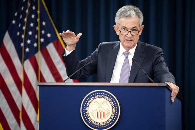 Federal Reserve Chairman Jerome Powell announced an interest rate cut on Wednesday in Washington, D.C. Photo by Kevin Dietsch/UPI