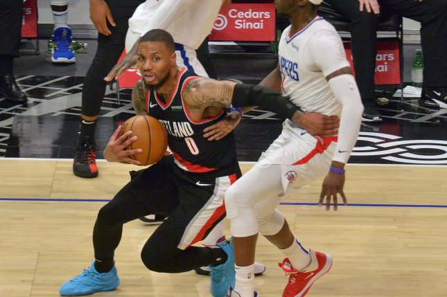 Portland Trail Blazers guard Damian Lillard (0), shown April 6, 2021, is under contract with the franchise until 2024. File Photo by Jim Ruymen/UPI