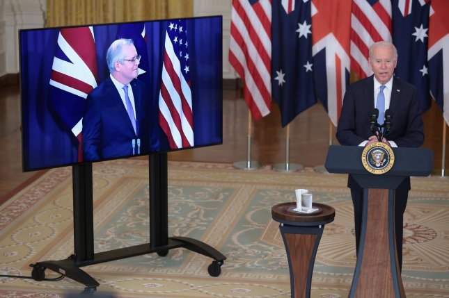The United States, Australia and Britain announced a trilateral security partnership that will provide Australia with nuclear submarine technology with the goal of preserving stability in the Indo-Pacific region. Photo by Oliver Contreras/UPI