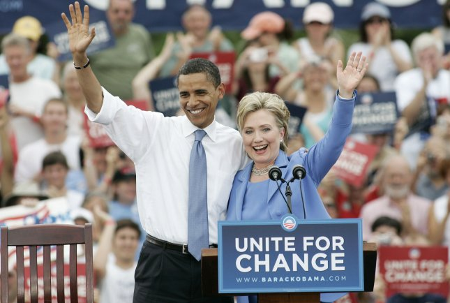 Presumptive Democratic Presidential Nominee Sen. Barack Obama, D-IL, and Sen. Hillary Rodham Clinton, D-NY, campaign together for the first time since Clinton dropped out of the race in Unity, New Hampshire, on June 27, 2008. (UPI Photo/Matthew Healey)