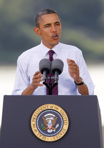 President Barack Obama pushes for Congress to pass his new jobs bill proposal during an event at the Hilltop Concrete Plant in front of the Brent Spence Bridge in Cincinnati, OH., September 22, 2011. UPI Photo/Mark Cowan