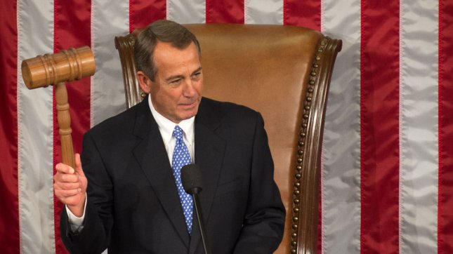 US Representative John Boehner, (R-OH) holds up his gavel after he was re-elected as Speaker of the House during the opening session of the 113th US House of Representatives in the U.S. Capitol in Washington, D.D., January 3, 2013. UPI/Ken Cedeno