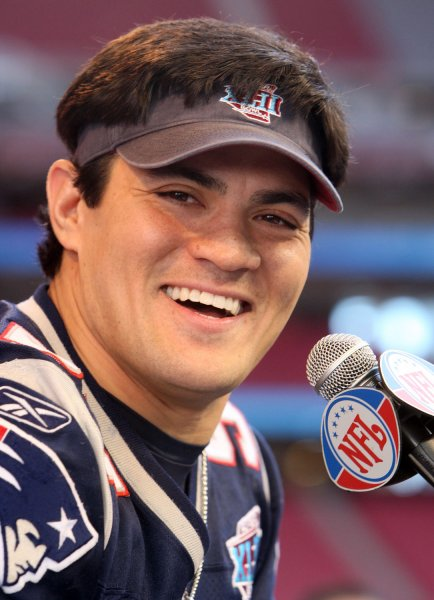 New England Patriots line backer Tedy Bruschi, shown during Media Day at the University of Phoenix Stadium in Glendale, Arizona, prior to Super Bowl XLII, on Monday announced his retirement after 13 years in the NFL. (UPI Photo/Terry Schmitt)