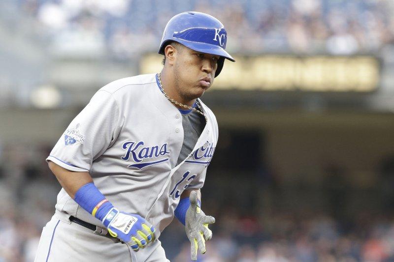 Kansas City Royals catcher Salvador Perez rounds third base after hitting a home run. File photo by John Angelillo/UPI
