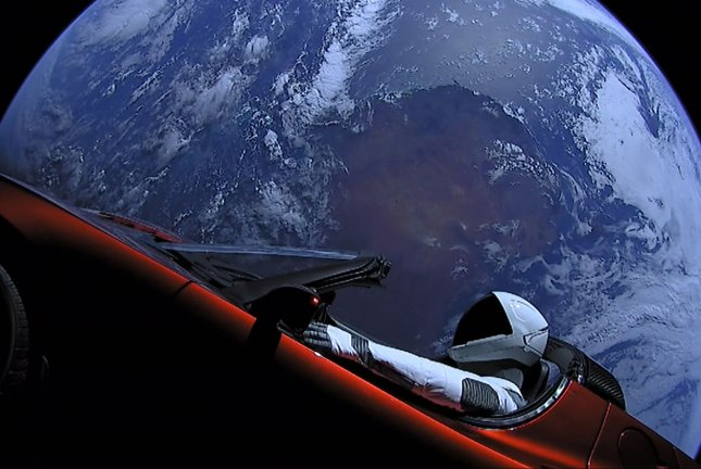 Starman takes the driver's seat of SpaceX CEO Elon Musk's Tesla Roadster as it travels through space toward Mars. File Photo courtesy of SpaceX