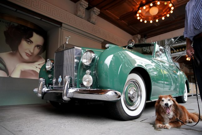 Elizabeth Taylor's 1960 Rolls Royce Silver Cloud II is on display at The Pierre Hotel in New York City on Tuesday. Photo by John Angelillo/UPI