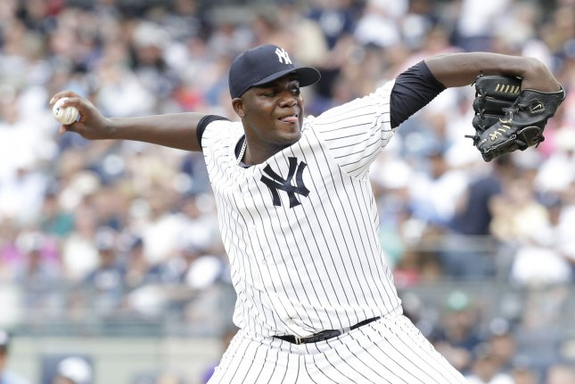 Former New York Yankees starting pitcher Michael Pineda will begin next season serving the remainder of the 60-game suspension that started in early September. File Photo by John Angelillo/UPI