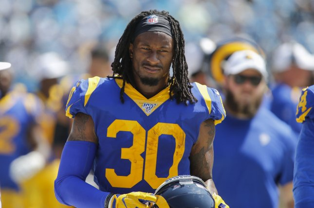Los Angeles Rams running back Todd Gurley saw a decrease in playing time last season due to knee issues. File Photo by Nell Redmond/UPI