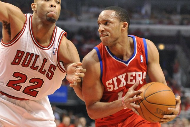 Ex-Philadelphia 76ers guard Evan Turner (R) is now on the Indiana Pacers (File/UPI/Brian Kersey)