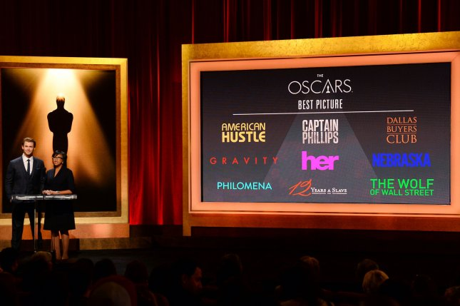 The Oscar nominees for Best Picture are announced by actor Chris Hemsworth (L) and Academy of Motion Picture Arts and Sciences President Cheryl Boone Isaacs at the Samuel Goldwyn Theatre in Beverly Hills, California on January 16, 2014. The 86th annual Academy Awards will take place Sunday, March 2. UPI/Jim Ruymen