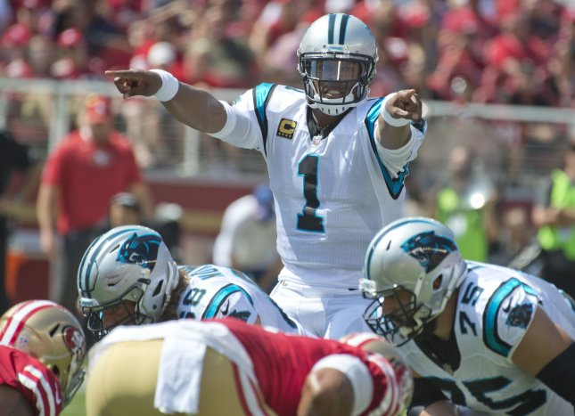 Carolina Panthers quarterback Cam Newton calls out a play during a game against the San Francisco 49ers last month. Photo by Terry Schmitt/UPI