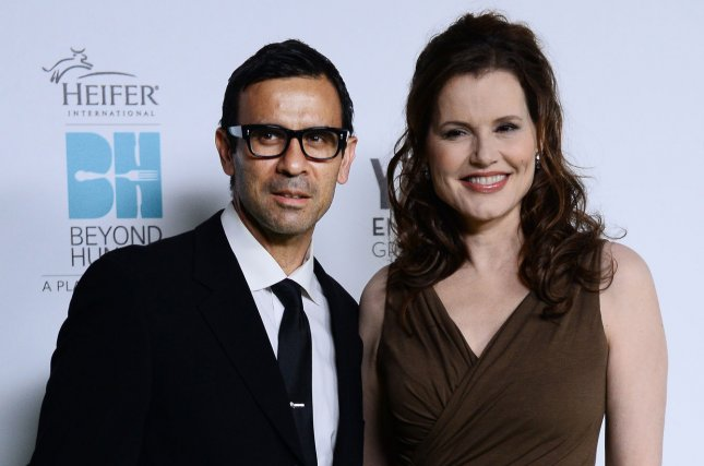 Geena Davis (R) and Reza Jarrahy intend to divorce after 16 years of marriage. File Photo by Jim Ruymen/UPI