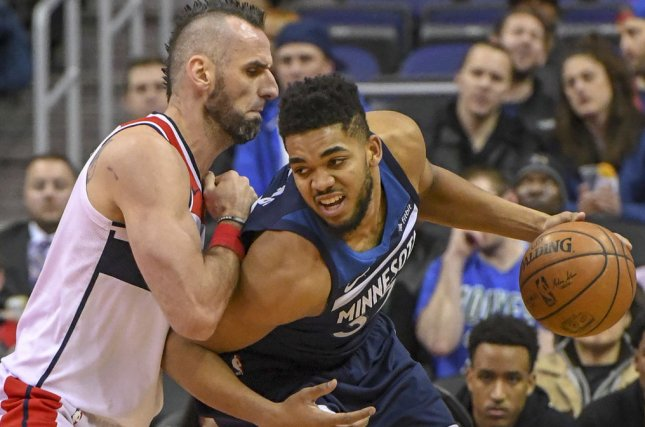 b9c34d1a3eba Karl-Anthony Towns and the Minnesota Timberwolves face the Golden State  Warriors on Friday. Photo by Mark Goldman UPI