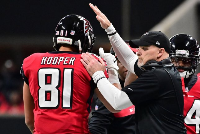 Atlanta Falcons head coach Dan Quinn (R) said his team has talked to the Buffalo Bills and Miami Dolphins about possible joint practices and scrimmages before the 2020 regular season. File Photo by David Tulis/UPI