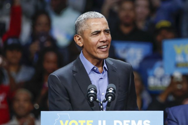 Former President Barack Obama speaks during the campaign rally for Illinois Democrats in Chicago on November 4, 2018. Obama turns 60 on August 4. File Photo by Kamil Krzaczynski/UPI