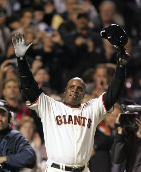 San Francisco Giants Barry Bonds reacts to the crowd after hitting career home run number 756 in the fifth inning against the Washington Nationals at AT&T Park in San Francisco on August 7, 2007. On Wednesday it was announced his name is on the 2013 ballot for the Baseball Hall of Fame. (UPI Photo/Aaron Kehoe).