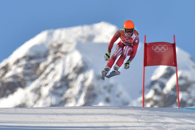 Switzerland's Sandro Viletta competes in the men's super combined at the Sochi 2014 Winter Olympics on February 14, 2014 in Krasnaya Polyana, Russia. Viletta went on to win gold. (UPI/Kevin Dietsch)