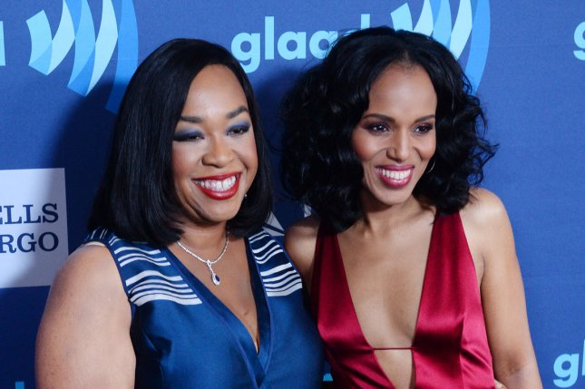 Screenwriter Shonda Rhimes (L) and actress Kerri Washington attend the 26th annual GLAAD Media Awards at the Beverly Hilton Hotel in Beverly Hills, Calif. on March 21, 2015. Rhimes took over television Thursday night with three season premieres airing back-to-back. File Photo by Jim Ruymen/UPI