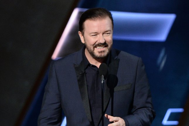 Actor Ricky Gervais appears onstage during the 67th Primetime Emmy Awards in Los Angeles on September 20, 2015. File Photo by Ken Matsui/UPI