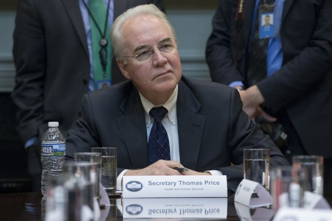 While he served in Congress, Tom Price reported trading hundreds of thousands of dollars' worth of shares in health-related companies while he voted on and sponsored legislation affecting the industry. He testified at his HHS confirmation hearings that his trades were lawful and transparent. Pool Photo by Michael Reynolds/UPI