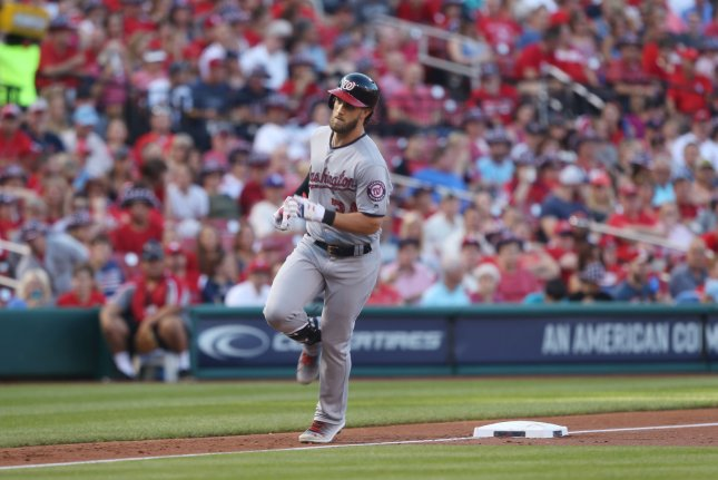 Washington Nationals Bryce Harper rounds third base after hitting a two run home run in the first inning against the St. Louis Cardinals at Busch Stadum in St. Louis on July 2, 2017. Photo by Bill Greenblatt/UPI
