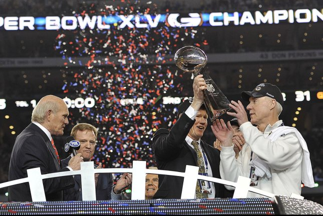 Green Bay Packers president and CEO Mark Murphy and General Manager Ted Thompson winning Super Bowl XLV at Cowboys Stadium in Arlington, Texas on February 6, 2011. File photo by Brian Kersey/UPI