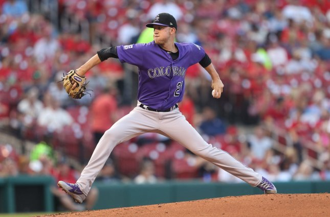 Kyle Freeland and the Colorado Rockeis face the Los Angeles Angels on Tuesday. Photo by Bill Greenblatt/UPI