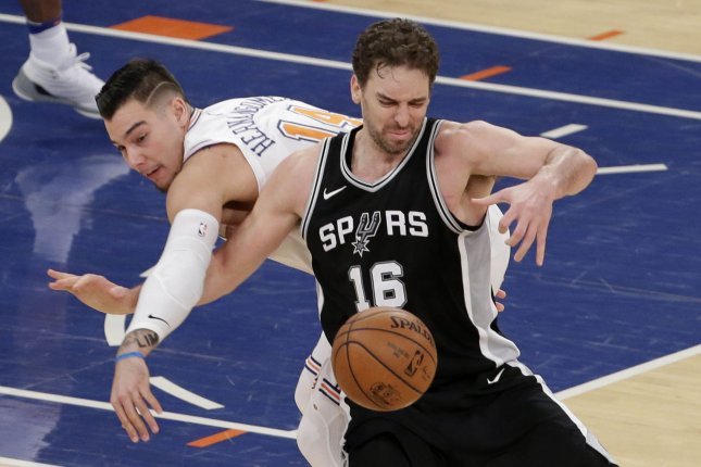 Former San Antonio Spurs big man Pau Gasol (16) will join the Milwaukee Bucks after the Spurs and Gasol reached a buyout agreement Friday. File Photo by John Angelillo/UPI