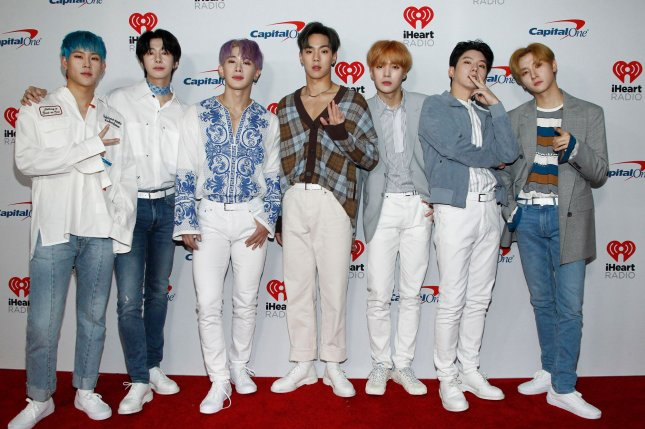 K-pop group Monsta X arrives for the iHeartRadio Music Festival at the T-Mobile Arena in Las Vegas in September. File Photo by James Atoa/UPI